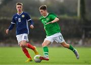 16 November 2018; Oliver O'Neill of Republic of Ireland in action against Cole McKinnon of Scotland during the U16 Victory Shield match between Republic of Ireland and Scotland at Mounthawk Park in Tralee, Kerry. Photo by Brendan Moran/Sportsfile