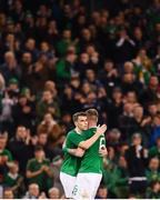 15 November 2018; Glenn Whelan, right, is embraced by his Republic of Ireland team-mate Seamus Coleman during his first half substitution during the International Friendly match between Republic of Ireland and Northern Ireland at the Aviva Stadium in Dublin. Photo by Stephen McCarthy/Sportsfile