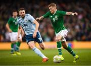 15 November 2018; James McClean of Republic of Ireland and Stuart Dallas of Northern Ireland during the International Friendly match between Republic of Ireland and Northern Ireland at the Aviva Stadium in Dublin. Photo by Stephen McCarthy/Sportsfile