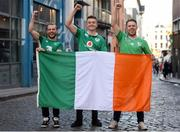 17 November 2018; Ireland supporters, from left to right, Grzegorz Koszylowski, Brian McKeown, Kyle Cobane from Enniskillen, Co Fermanagh, in Temple Bar prior to the Guinness Series International match between Ireland and New Zealand at the Aviva Stadium in Dublin. Photo by Harry Murphy/Sportsfile