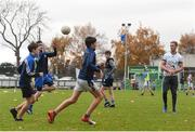 17 November 2018; Dublin All-Ireland winner and All-Star Paul Mannion puts the Ballyboden under 13 boys' football team through their paces. The team were selected as winners of the John West competition as part of their sponsorship of the Feile. John West has sponsored the Feile since 2016 and throughout the sponsorship, John West has focused on encouraging children to participate in Gaelic Games while emphasising the importance natural protein plays in fuelling a young athlete. Pictured is Paul Mannion with young players during the John West Training Session with Paul Mannion at Ballyboden St Endas GAA in Ballyboden, Dublin. Photo by Eóin Noonan/Sportsfile
