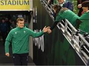 17 November 2018; Josh van der Flier of Ireland greets a supporter prior to the Guinness Series International match between Ireland and New Zealand at the Aviva Stadium in Dublin. Photo by Ramsey Cardy/Sportsfile