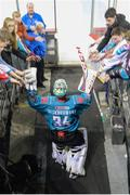 17 November 2018; Tyler Beskorowany of Belfast Giants leads his team to the ice prior to the IIHF Continental Cup Third Round Group E match between Stena Line Belfast Giants and GKS Katowice at the SSE Arena in Belfast. Photo by Eoin Smith/Sportsfile