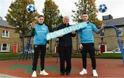 22 November 2018; To celebrate Dublin's hosting of the UEFA EURO 2020 Qualifying Draw on December 2, 2018, the Football Association of Ireland and Dublin City Council have launched the Street Legends Community Football events. The Street Legends Community Football Events will take place on Wednesday, November 28 and Thursday, November 29 from 5pm to 8pm, and on Saturday, December 1 from 3pm to 6pm. The events will kick off on Little Britain Street on the Wednesday, followed by Mountjoy Square South on the Thursday, and then on Commons Street on the Saturday afternoon. Each event is free to attend and open to all ages and abilities. Participants will be able to test their skills against a wide range of football challenges. Irish and international football legends will also be in attendance to see what Dublin's Street Legends have on offer. In attendance are Republic of Ireland WNT international Jessica Ziu, former Ireland MNT player and manager John Giles and Ireland Under-19 international Aaron Bolger during Street Football Legends Launch at Ormond Square, in Dublin. Photo by Sam Barnes/Sportsfile