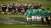 17 November 2018; The haka is performed by New Zealand's All Blacks, led by captain Kieran Read, prior to the Guinness Series International match between Ireland and New Zealand at the Aviva Stadium in Dublin. Photo by David Fitzgerald/Sportsfile
