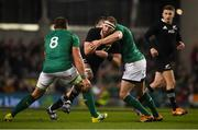 17 November 2018; Kieran Read of New Zealand is tackled by CJ Stander, left, and Jonathan Sexton of Ireland during the Guinness Series International match between Ireland and New Zealand at the Aviva Stadium in Dublin. Photo by David Fitzgerald/Sportsfile