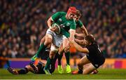 17 November 2018; Josh van der Flier of Ireland is tackled by Jack Goodhue of New Zealand during the Guinness Series International match between Ireland and New Zealand at the Aviva Stadium in Dublin. Photo by Ramsey Cardy/Sportsfile