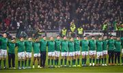 17 November 2018; The Ireland team watch the 'Haka' ahead of the Guinness Series International match between Ireland and New Zealand at the Aviva Stadium in Dublin. Photo by Ramsey Cardy/Sportsfile