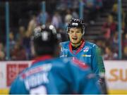 17 November 2018; Josh Roach of Belfast Giants, right, speaks with team mate Lewis Hook during the IIHF Continental Cup Third Round Group E match between Stena Line Belfast Giants and GKS Katowice at the SSE Arena in Belfast. Photo by Eoin Smith/Sportsfile