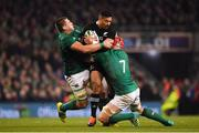 17 November 2018; Richie Mo'unga of New Zealand is tackled by CJ Stander, left, and Josh van der Flier of Ireland during the Guinness Series International match between Ireland and New Zealand at the Aviva Stadium in Dublin. Photo by Brendan Moran/Sportsfile