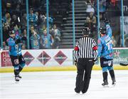 17 November 2018; Josh Roach of Belfast Giants, right, celebrates after scoring his side's first goal with team mate Patrick Dwyer during the IIHF Continental Cup Third Round Group E match between Stena Line Belfast Giants and GKS Katowice at the SSE Arena in Belfast. Photo by Eoin Smith/Sportsfile