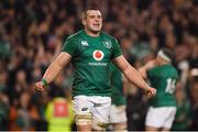 17 November 2018; CJ Stander of Ireland celebrates following the Guinness Series International match between Ireland and New Zealand at the Aviva Stadium in Dublin. Photo by Brendan Moran/Sportsfile