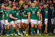 17 November 2018; Ireland players, including Tadhg Furlong, Cian Healy, Bundee Aki, Jonathan Sexton celebrate their side's victory in the Guinness Series International match between Ireland and New Zealand at the Aviva Stadium in Dublin. Photo by Ramsey Cardy/Sportsfile