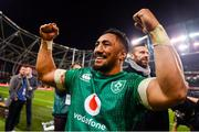 17 November 2018; Bundee Aki of Ireland celebrates following his side's victory in the Guinness Series International match between Ireland and New Zealand at the Aviva Stadium in Dublin. Photo by Ramsey Cardy/Sportsfile