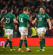 17 November 2018; CJ Stander of Ireland celebrates with team-mates Luke McGrath, left, and Keith Earls at the final whistle following the Guinness Series International match between Ireland and New Zealand at the Aviva Stadium in Dublin. Photo by David Fitzgerald/Sportsfile
