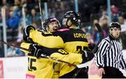 17 November 2018; Damian Tomasik of GKS Katowice, centre, celebrates after scoring his side's third goal, with team mates Patryk Wronka, left, and Nicholas Lopuski during the IIHF Continental Cup Third Round Group E match between Stena Line Belfast Giants and GKS Katowice at the SSE Arena in Belfast. Photo by Eoin Smith/Sportsfile