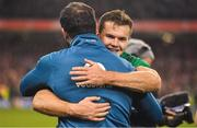 17 November 2018; Jacob Stockdale of Ireland celebrates with defence coach Andy Farrell after the Guinness Series International match between Ireland and New Zealand at Aviva Stadium, Dublin. Photo by Brendan Moran/Sportsfile
