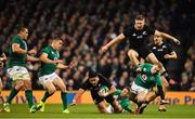 17 November 2018; Rieko Ioane of New Zealand is tackled by Jordan Larmour of Ireland during the Guinness Series International match between Ireland and New Zealand at Aviva Stadium, Dublin. Photo by Brendan Moran/Sportsfile