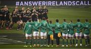 17 November 2018; New Zealand players perform the haka prior to the Guinness Series International match between Ireland and New Zealand at the Aviva Stadium in Dublin. Photo by David Fitzgerald/Sportsfile