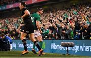 17 November 2018; Jonathan Sexton of Ireland celebrates late in the Guinness Series International match between Ireland and New Zealand at the Aviva Stadium in Dublin. Photo by Ramsey Cardy/Sportsfile