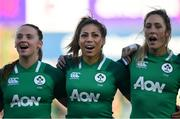 18 November 2018; Ireland players, from left, Michelle Claffey, Sene Naoupu and Eimear Considine during the National Anthem ahead of the Women's International Rugby match between Ireland and USA at Energia Park in Donnybrook, Dublin. Photo by Ramsey Cardy/Sportsfile