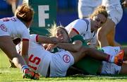 18 November 2018; Eimear Considine of Ireland is held up on the try line by Kaitlyn Broughton of USA during the Women's International Rugby match between Ireland and USA at Energia Park in Donnybrook, Dublin. Photo by Ramsey Cardy/Sportsfile