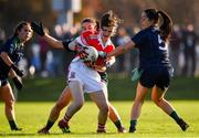 18 November 2018; Rosemary Courtney of Donaghmoyne in action against Aedin Murray and Sinead Goldrick of Foxrock-Cabinteely during the All-Ireland Ladies Senior Club Football Championship Semi-Final 2018 match between Foxrock-Cabinteely and Donaghmoyne at Bray Emmets GAA Club in Bray, Wicklow. Photo by Brendan Moran/Sportsfile