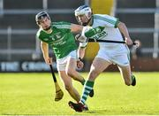 18 November 2018; TJ Reid of Ballyhale Shamrocks in action against Sean Doyle of Naomh Éanna during the AIB Leinster GAA Hurling Senior Club Championship semi-final match between Naomh Éanna and Ballyhale Shamrocks at Innovate Wexford Park in Wexford. Photo by Matt Browne/Sportsfile
