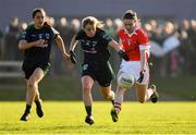 18 November 2018; Rosemary Courtney of Donaghmoyne in action against Ciara O'Riordan and Sinead Goldrick of Foxrock-Cabinteely during the All-Ireland Ladies Senior Club Football Championship Semi-Final 2018 match between Foxrock-Cabinteely and Donaghmoyne at Bray Emmets GAA Club in Bray, Wicklow. Photo by Brendan Moran/Sportsfile