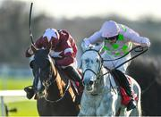 18 November 2018; Some Neck, right, with David Mullins up, races alongside eventual second place Blow By Blow, with Davy Russell up, on their way to winning the Liam & Valerie Brennan Memorial Florida Pearl Novice Steeplechase at Punchestown Racecourse in Naas, Co. Kildare. Photo by Seb Daly/Sportsfile