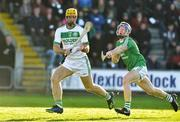 18 November 2018; Colin Fennelly of Ballyhale Shamrocks on his way to scoring his side's second goal despite the effort of Brendan Travers of Naomh Éanna during the AIB Leinster GAA Hurling Senior Club Championship semi-final match between Naomh Éanna and Ballyhale Shamrocks at Innovate Wexford Park in Wexford. Photo by Matt Browne/Sportsfile