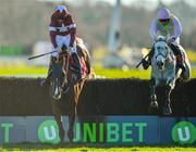 18 November 2018; Some Neck, right, with David Mullins up, jumps the last alongside eventual second place Blow By Blow, with Davy Russell up, on their way to winning the Liam & Valerie Brennan Memorial Florida Pearl Novice Steeplechase at Punchestown Racecourse in Naas, Co. Kildare. Photo by Seb Daly/Sportsfile