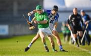 18 November 2018; Kevin Connolly of Coolderry in action against David O'Connor of Ballyboden St Enda's during the AIB Leinster GAA Hurling Senior Club Championship semi-final match between Ballyboden St Enda's and Coolderry at Parnell Park, in Dublin. Photo by Sam Barnes/Sportsfile