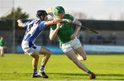 18 November 2018; Eoghan Parlon of Coolderry in action against David O'Connor of Ballyboden St Enda's during the AIB Leinster GAA Hurling Senior Club Championship semi-final match between Ballyboden St Enda's and Coolderry at Parnell Park, in Dublin. Photo by Sam Barnes/Sportsfile