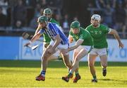 18 November 2018; Simon Lambert of Ballyboden St Enda's in action against Eoghan Parlon of Coolderry during the AIB Leinster GAA Hurling Senior Club Championship semi-final match between Ballyboden St Enda's and Coolderry at Parnell Park, in Dublin. Photo by Sam Barnes/Sportsfile