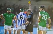 18 November 2018; Referee Justin Heffernan shows Simon Lambert of Ballyboden St Enda's a yellow card during the AIB Leinster GAA Hurling Senior Club Championship semi-final match between Ballyboden St Enda's and Coolderry at Parnell Park, in Dublin. Photo by Sam Barnes/Sportsfile