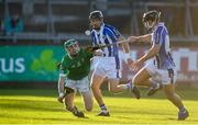 18 November 2018; Kevin Connolly of Coolderry in action against David O'Connor, left, and Shane Durkin of Ballyboden St Enda's during the AIB Leinster GAA Hurling Senior Club Championship semi-final match between Ballyboden St Enda's and Coolderry at Parnell Park, in Dublin. Photo by Sam Barnes/Sportsfile
