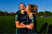 18 November 2018; Amy Connolly, left, and Ciara Ni Mhurchadh of Foxrock-Cabinteely celebrate after the final whistle of the All-Ireland Ladies Senior Club Football Championship Semi-Final 2018 match between Foxrock-Cabinteely and Donaghmoyne at Bray Emmets GAA Club in Bray, Wicklow. Photo by Brendan Moran/Sportsfile