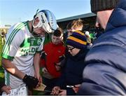 18 November 2018; TJ Reid of Ballyhale Shamrocks autographs a hurl for a supporter after the AIB Leinster GAA Hurling Senior Club Championship semi-final match between Naomh Éanna and Ballyhale Shamrocks at Innovate Wexford Park in Wexford. Photo by Matt Browne/Sportsfile