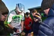 18 November 2018; TJ Reid of Ballyhale Shamrocks autographs a match programme after the AIB Leinster GAA Hurling Senior Club Championship semi-final match between Naomh Éanna and Ballyhale Shamrocks at Innovate Wexford Park in Wexford. Photo by Matt Browne/Sportsfile