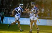 18 November 2018; Collie Basquel, left, of Ballyboden St Enda's, celebrates after scoring his side's fourth goal with Paul Ryan during the AIB Leinster GAA Hurling Senior Club Championship semi-final match between Ballyboden St Enda's and Coolderry at Parnell Park, in Dublin. Photo by Sam Barnes/Sportsfile
