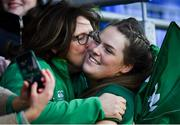 18 November 2018; Ireland's Beibhinn Parsons, who became Ireland's youngest international, with her mother Evelyn following the Women's International Rugby match between Ireland and USA at Energia Park in Donnybrook, Dublin. Photo by Ramsey Cardy/Sportsfile