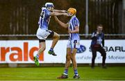 18 November 2018; Collie Basquel of Ballyboden St Enda's, left, celebrates after scoring his side's fifth goal with Conor Dooley during the AIB Leinster GAA Hurling Senior Club Championship semi-final match between Ballyboden St Enda's and Coolderry at Parnell Park, in Dublin. Photo by Sam Barnes/Sportsfile