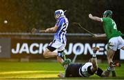 18 November 2018; Collie Basquel of Ballyboden St Enda's, shoots to score his side's fifth goal despite the  efforts of Stephen Corcoran and Stephen Connolly, right, of Coolderry during the AIB Leinster GAA Hurling Senior Club Championship semi-final match between Ballyboden St Enda's and Coolderry at Parnell Park, in Dublin. Photo by Sam Barnes/Sportsfile