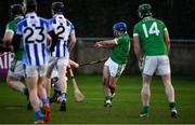 18 November 2018; Brian Carroll of Coolderry, shoots to score his side's fourth goal during the AIB Leinster GAA Hurling Senior Club Championship semi-final match between Ballyboden St Enda's and Coolderry at Parnell Park, in Dublin. Photo by Sam Barnes/Sportsfile