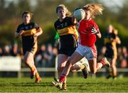 18 November 2018; Lynsey Noone of Kilkerrin-Clonberne in action against Cathy Ann Stack of Mourneabbey during the All-Ireland Ladies Senior Club Football Championship Semi-Final 2018 match between Kilkerrin-Clonberne and Mourneabbey at Clonberne Sports Field in Ballinasloe, Galway.   Photo by Eóin Noonan/Sportsfile