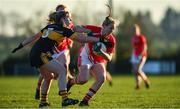 18 November 2018; Sarah Gormally of Kilkerrin-Clonberne in action against Cathy Ann Stack of Mourneabbey during the All-Ireland Ladies Senior Club Football Championship Semi-Final 2018 match between Kilkerrin-Clonberne and Mourneabbey at Clonberne Sports Field in Ballinasloe, Galway.   Photo by Eóin Noonan/Sportsfile