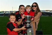 18 November 2018; Ballygunner joint captain Shane O'Sullivan celebrates with his partner Ciara, son Ferdia, aged 2, and his nephew Cian, aged 10, after the AIB Munster GAA Hurling Senior Club Championship Final between Na Piarsaigh and Ballygunner at Semple Stadium in Thurles, Co. Tipperary. Photo by Diarmuid Greene/Sportsfile