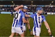 18 November 2018; Ballyboden St Enda's players, from left, Conal Keaney, Collie Basquel and Finn McGarry celebrate following the AIB Leinster GAA Hurling Senior Club Championship semi-final match between Ballyboden St Enda's and Coolderry at Parnell Park, in Dublin. Photo by Sam Barnes/Sportsfile