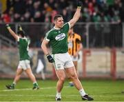 18 November 2018; Kevin Cassidy of Gaoth Dobhair celebrates after scoring his side's fourth goal during the AIB Ulster GAA Football Senior Club Championship semi-final match between Crossmaglen Rangers and Gaoth Dobhair at Healy Park in Omagh, Tyrone. Photo by Oliver McVeigh/Sportsfile